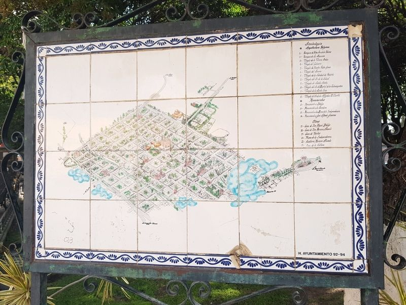 A nearby map of Dolores Hidalgo, just south of the Casa de Visitas Marker image. Click for full size.