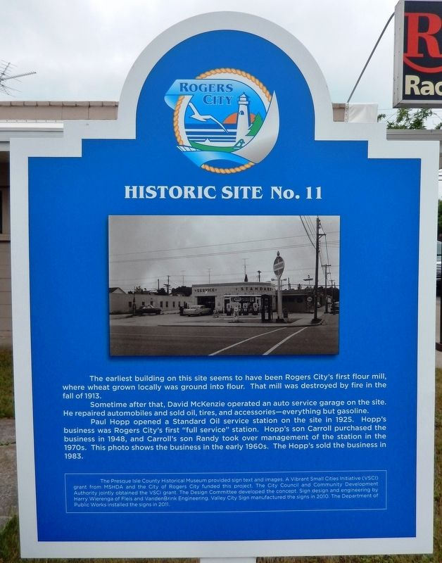 Site of Rogers City's First Flour Mill Marker image. Click for full size.