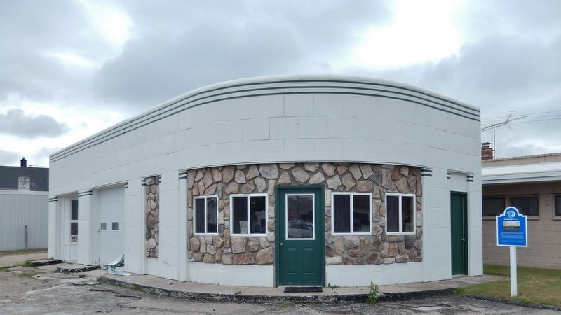 Site of Rogers City&#39;s First Flour Mill Marker (<i>wide view; former Standard Oil station left</i>) image. Click for full size.