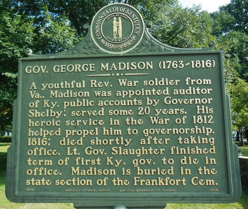 Gov. George Madison (1763-1816) Marker image. Click for full size.
