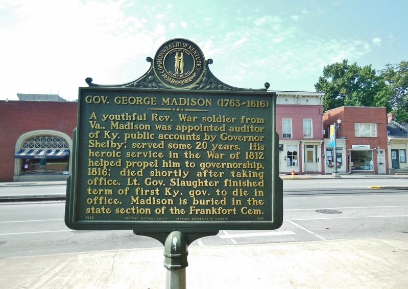Gov. George Madison (1763-1816) Marker (<i>wide view; Broadway Street in background</i>) image. Click for full size.