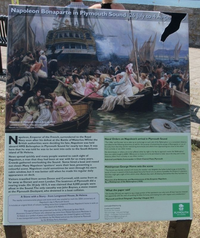 Napolean Bonaparte in Plymouth Sound Marker image. Click for full size.