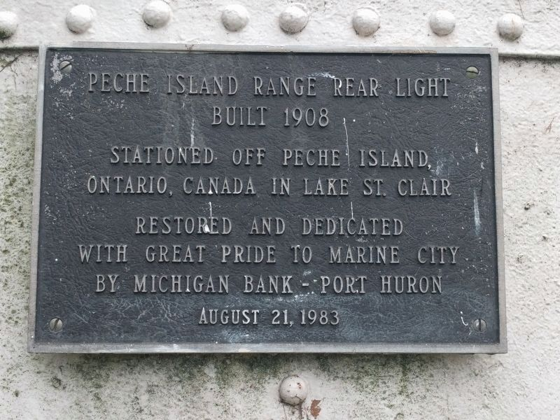 Pêche Island Rear Range Light Plaque image. Click for full size.