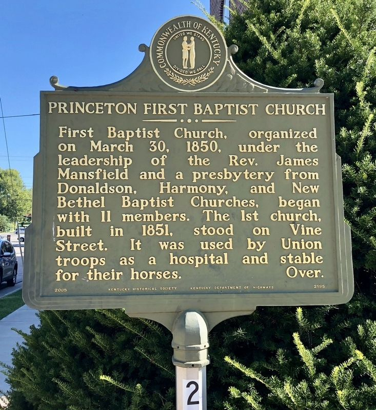 Princeton First Baptist Church Marker image. Click for full size.