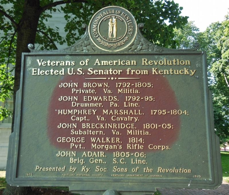 Veterans of American Revolution Elected U.S. Senator from Kentucky (<i>marker side 2</i>) image. Click for full size.
