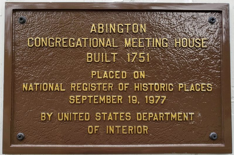 Abington Congregational Meeting House Marker image. Click for full size.