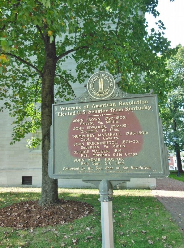 Veterans of American Revolution Marker (<i>tall view; northwest corner Old State Capitol behind</i>) image. Click for full size.