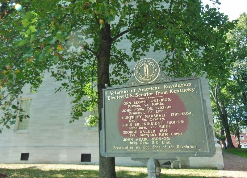 Veterans of American Revolution Marker (<i>wide view; northwest corner Old State Capitol behind</i>) image. Click for full size.