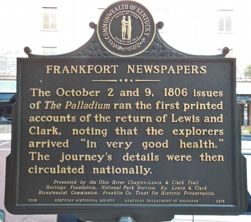 Lewis and Clark in Kentucky / Frankfort Newspapers Marker (<i>side 2</i>) image. Click for full size.