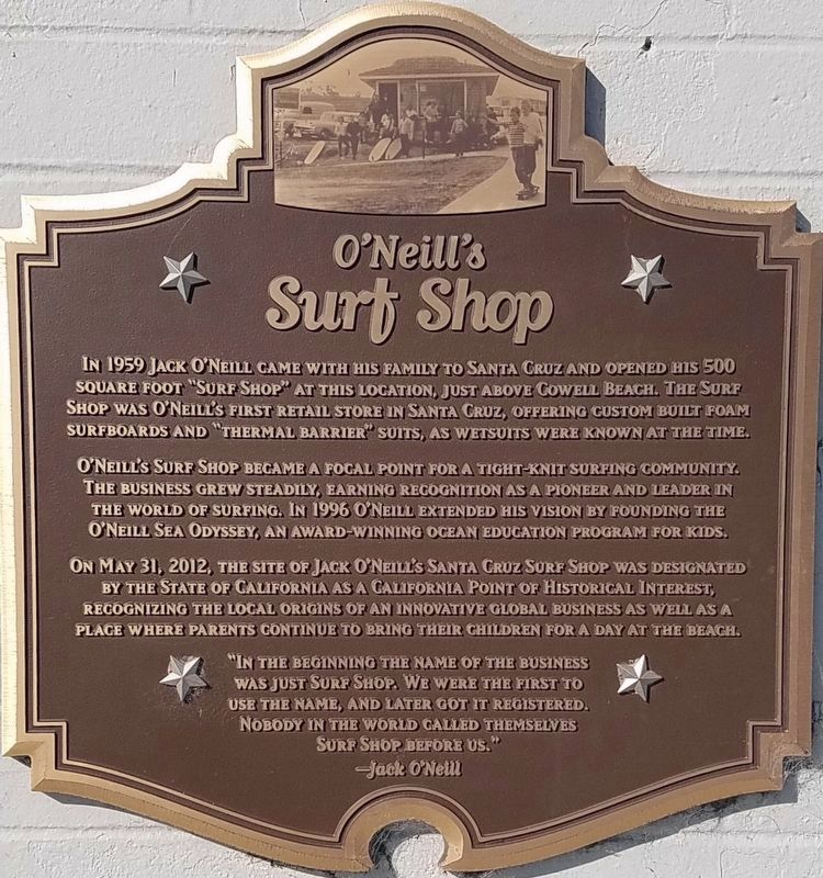 O'Neill's Surf Shop Marker image. Click for full size.