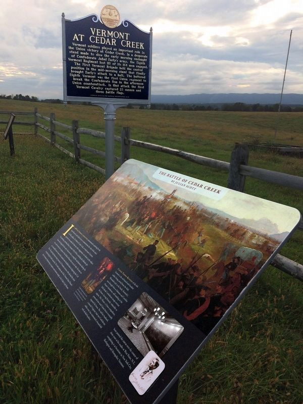 Vermont at Cedar Creek Marker<br>& The Battle of Cedar Creek Marker image. Click for full size.