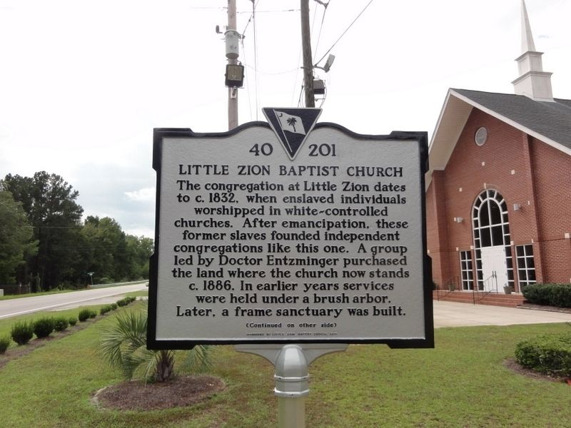 Little Zion Baptist Church Marker image. Click for full size.