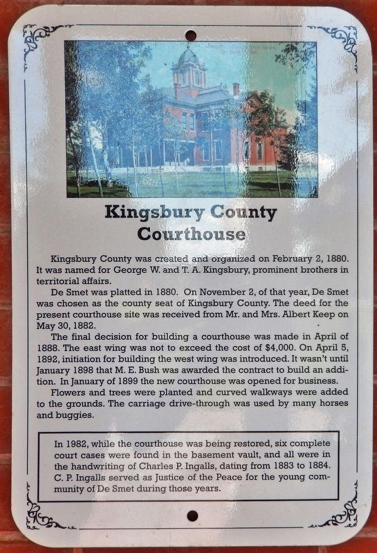 Kingsbury Courthouse Marker image. Click for full size.
