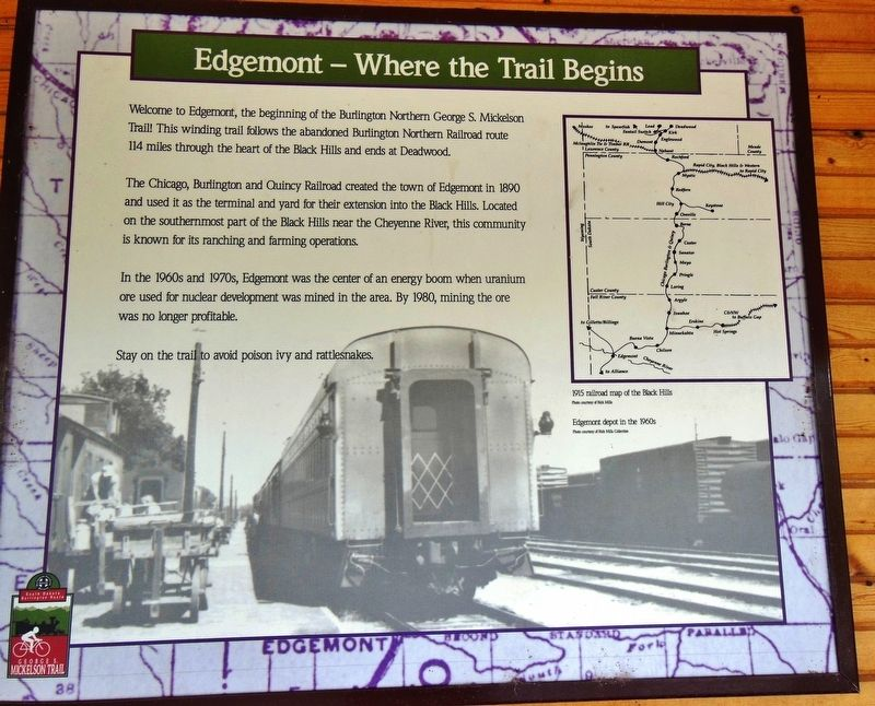 Edgemont: Where the Trail Begins Marker image. Click for full size.