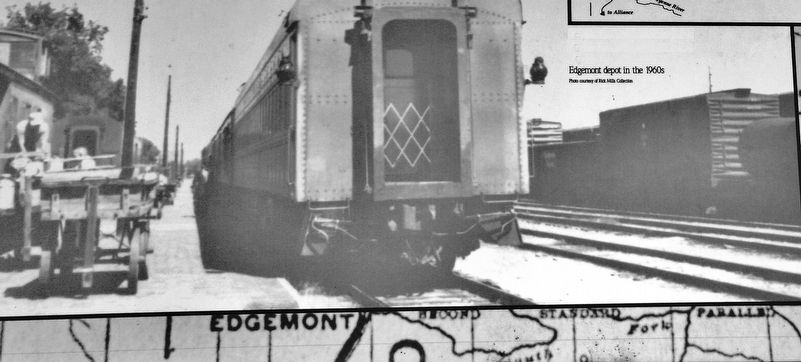 Marker detail: Edgemont Depot in the 1960s image. Click for full size.