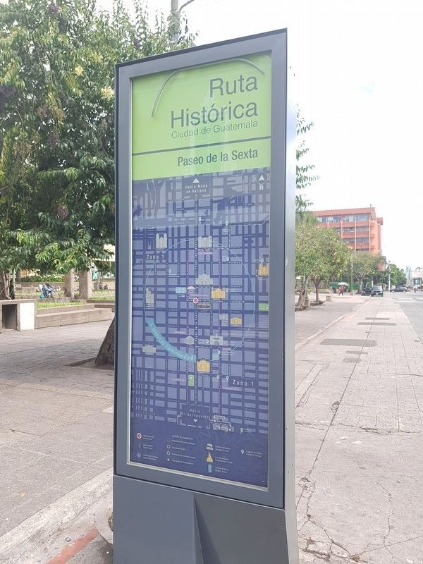 Paseo de la Sexta Marker reverse, with a map of nearby historic and cultural sites image. Click for full size.