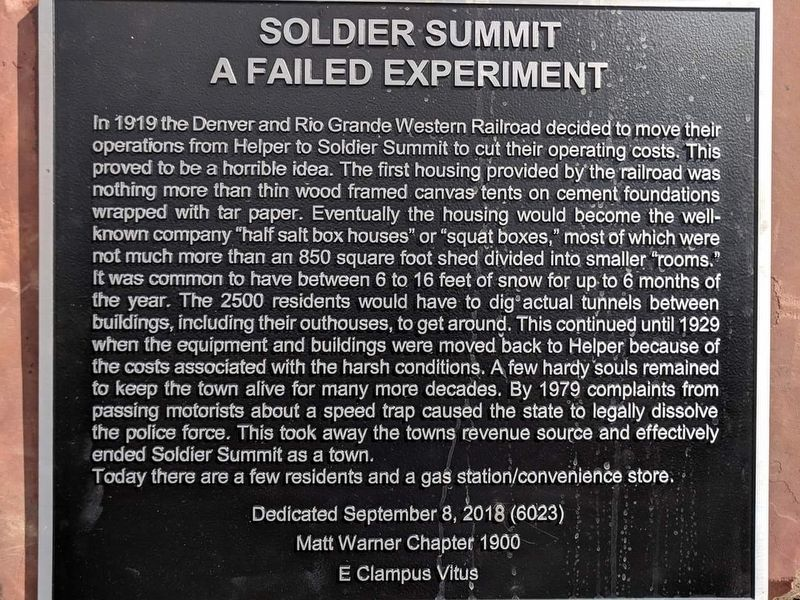 Soldier Summit A Failed Experiment Marker image. Click for full size.