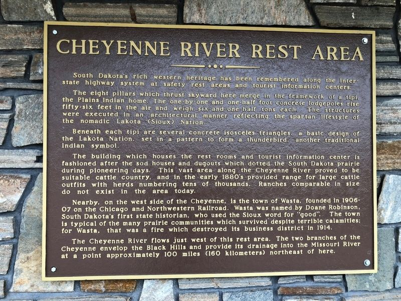 Cheyenne River Rest Area Marker image. Click for full size.