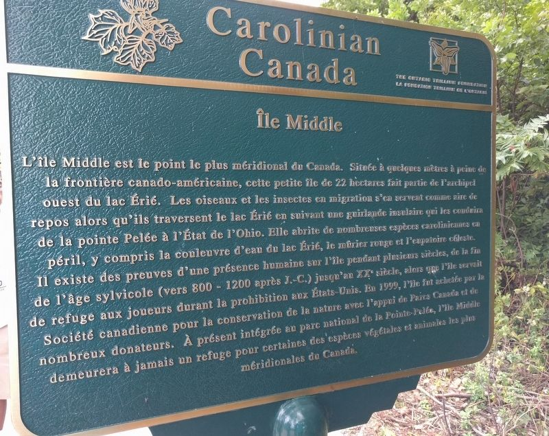 Carolinian Canada:Île Middle Marker image. Click for full size.