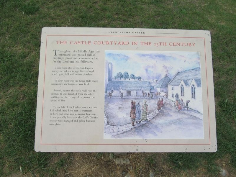 The Castle Courtyard in the 13th Century Marker image. Click for full size.