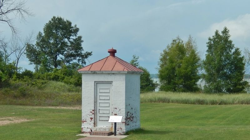 Oil House (<i>wide view from Tawas Lighthouse; Tawas Bay in the background</i>) image. Click for full size.