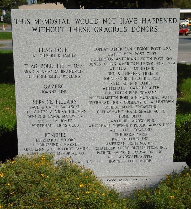 Veterans Memorial Sponsors image. Click for full size.