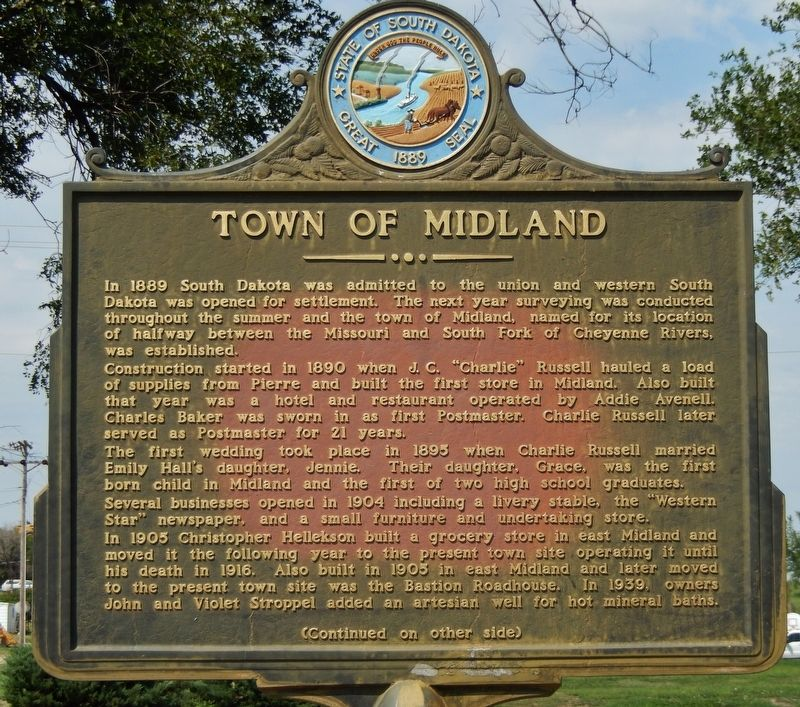 Town of Midland Marker (<i>side 1</i>) image. Click for full size.