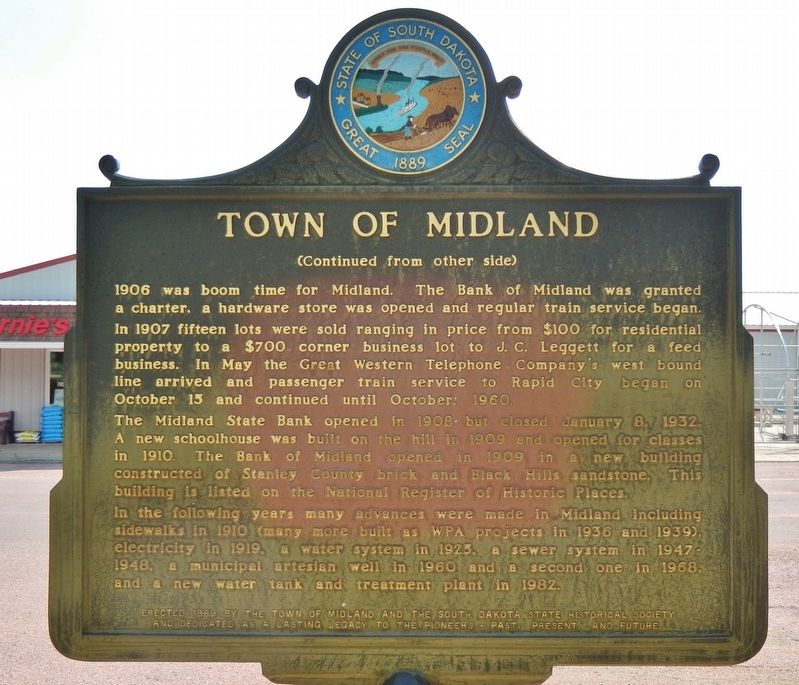 Town of Midland Marker (<i>side 2</i>) image. Click for full size.
