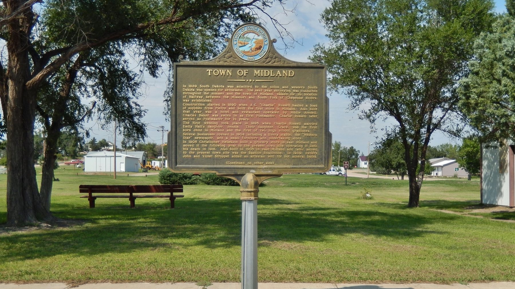 Town of Midland Marker (<i>wide view</i>) image. Click for full size.