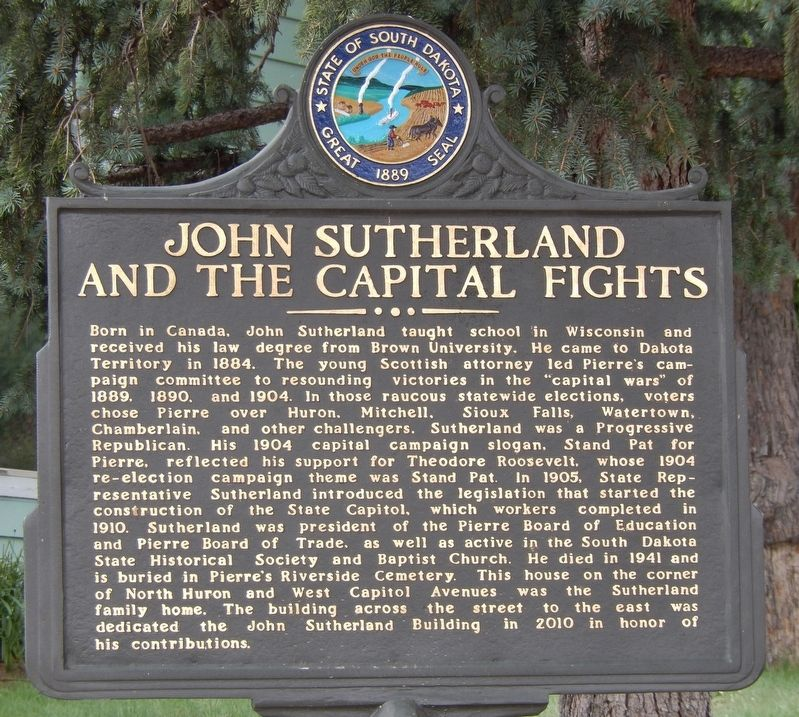 John Sutherland and the Capital Fights Marker image. Click for full size.