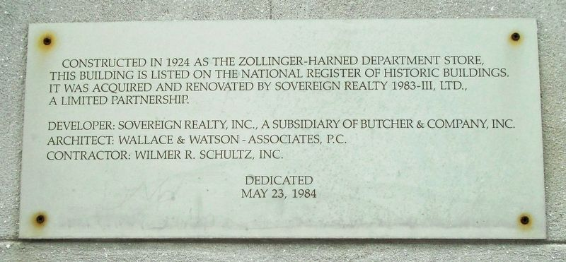 Zollinger-Harned Department Store Marker image. Click for full size.