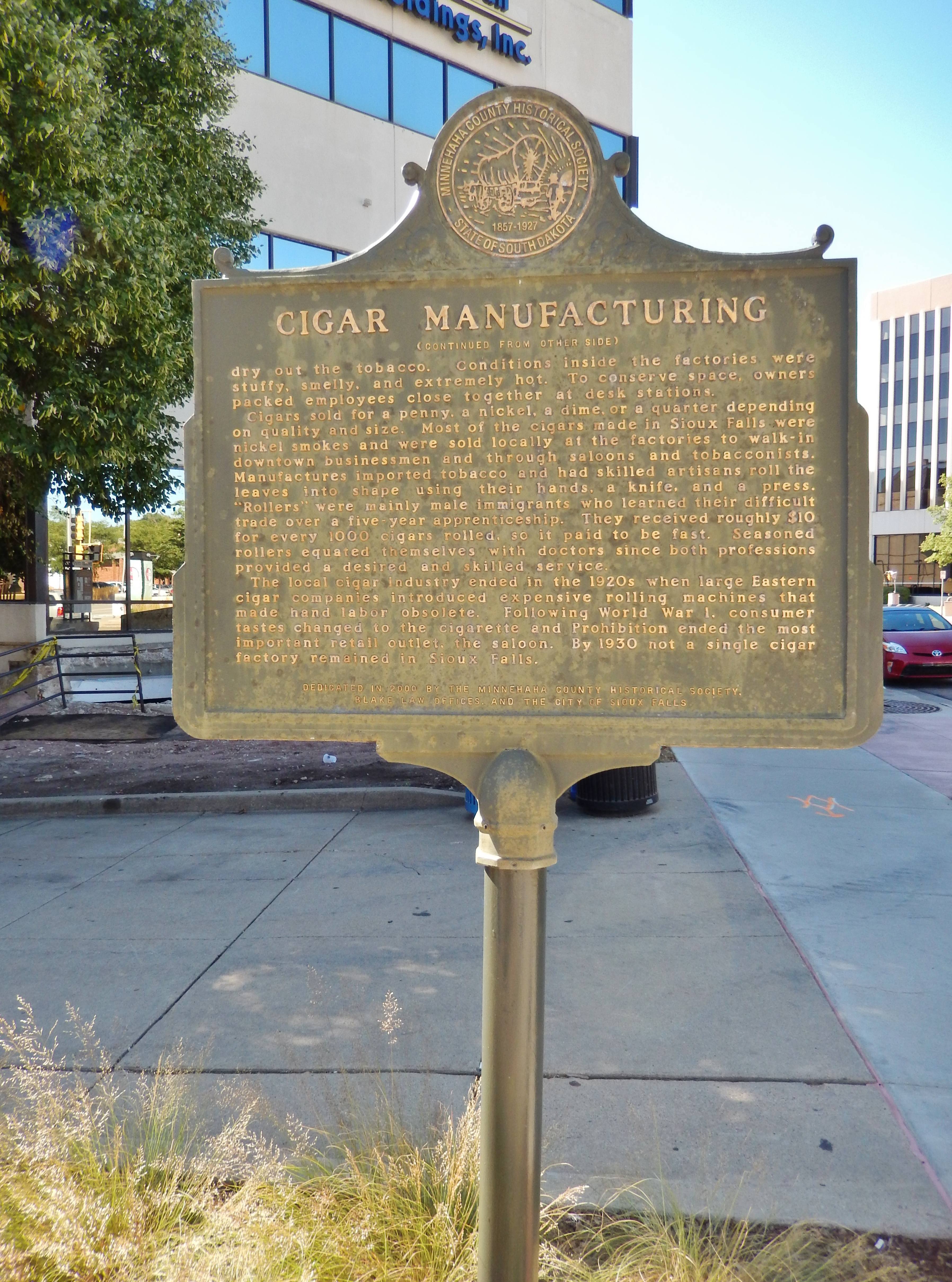 Cigar Manufacturing Marker (<i>side 2; tall view; looking south along Phillips Avenue </i>)