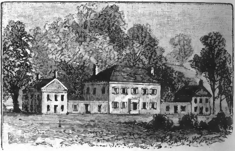 Drawing of the dwelling Harman Blennerhasset erected on an island in the Ohio River. image. Click for full size.