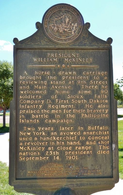 President William McKinley Marker (<i>side two</i>) image. Click for full size.