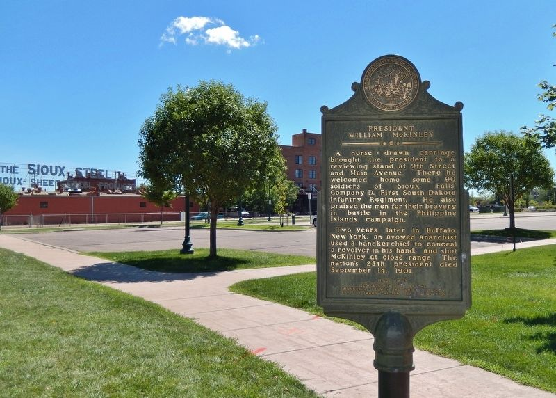 President William McKinley Marker (<i>wide view looking east across parking lot</i>) image. Click for full size.