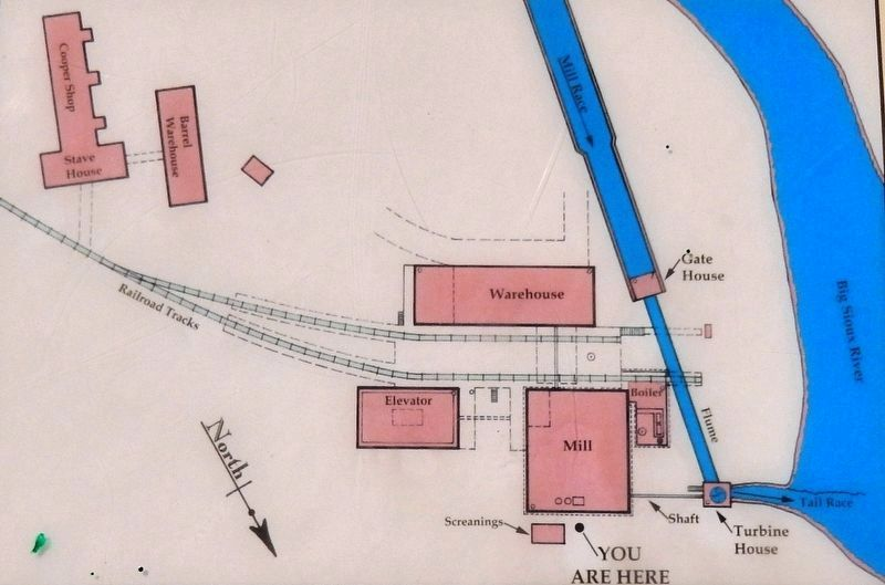 Marker detail: Map of the Queen Bee Mill complex as it existed in the late 1800s image. Click for full size.