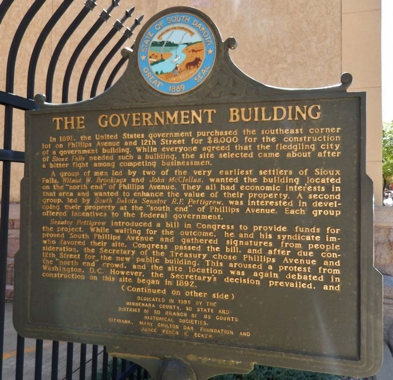 The Government Building Marker (<i>side 1</i>) image. Click for full size.