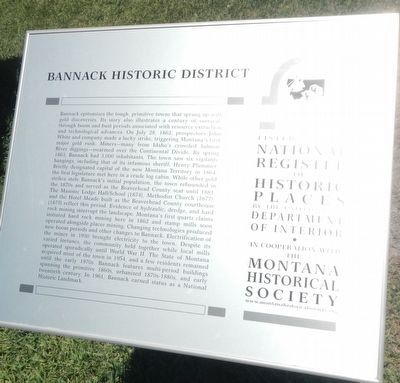 Bannack Historical District Marker image. Click for full size.