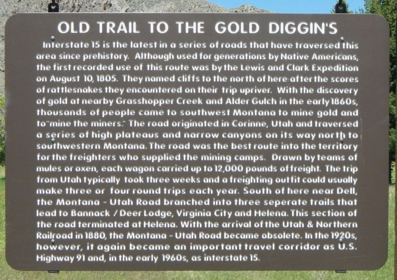 Old Trail to the Gold Diggin's Marker image. Click for full size.