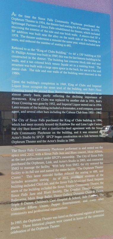 Orpheum Theater Marker (<i>panel 2</i>) image. Click for full size.