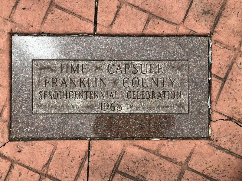 Time Capsule directly in front of the Veterans Memorial image. Click for full size.