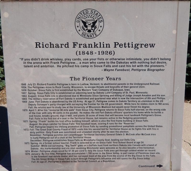 Richard Franklin Pettigrew Marker (<i>panel 1</i>) image. Click for full size.