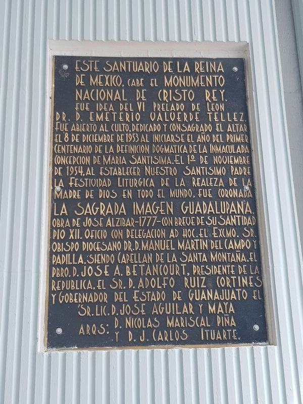 The Sanctuary of the Queen of Mexico Marker image. Click for full size.