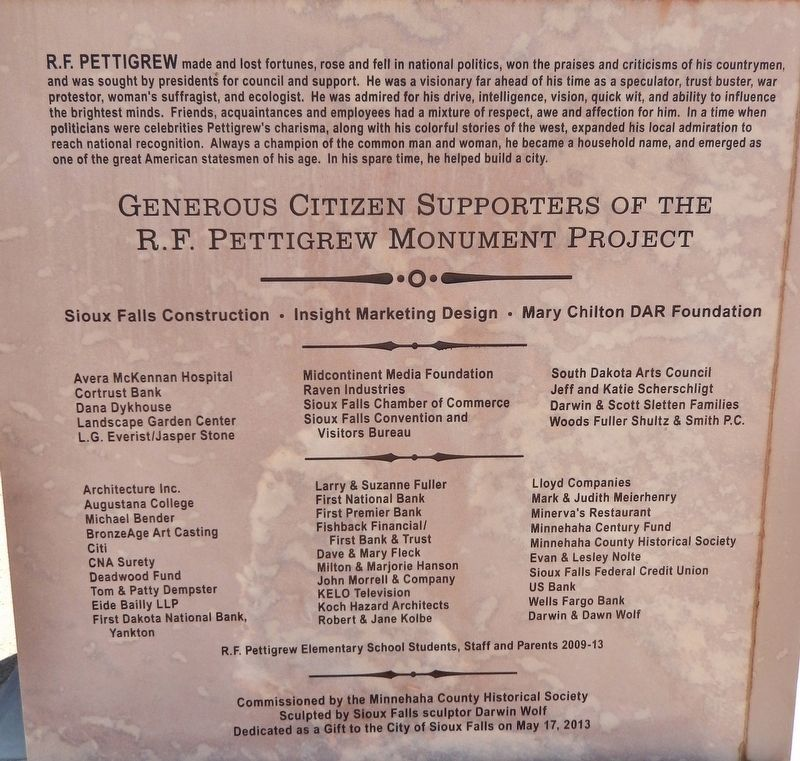 Richard Franklin Pettigrew Marker (<i>panel 4</i>) image. Click for full size.