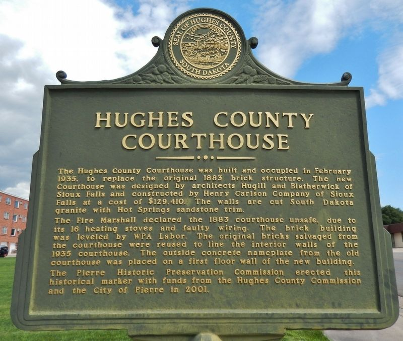 Hughes County Courthouse (<i>marker side 1</i>) image. Click for full size.