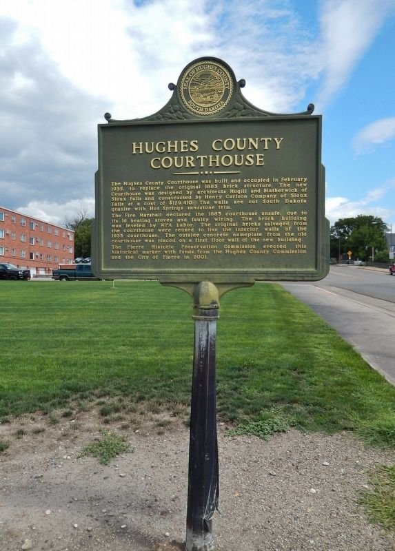 Hughes County Courthouse Marker (<i>tall view; looking north along Euclid Avenue</i>) image. Click for full size.