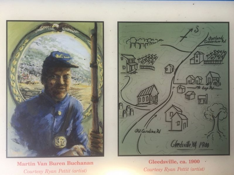 Martin Buchanan as a soldier and a map of Gleedsville image. Click for full size.