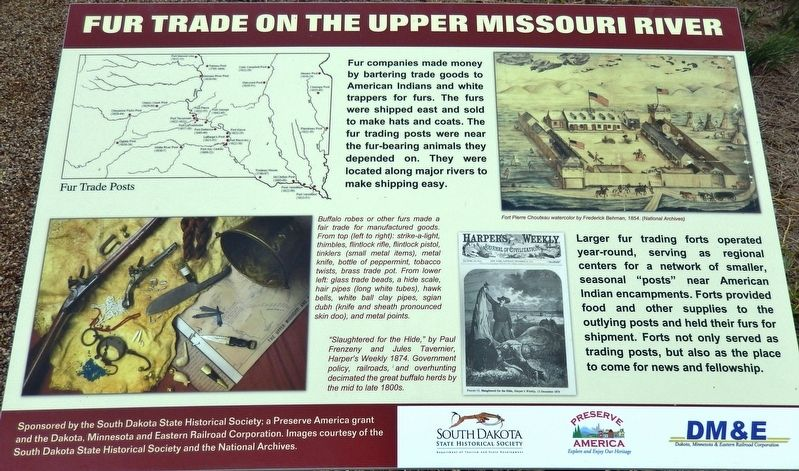 Fur Trade on the Upper Missouri River Marker image. Click for full size.