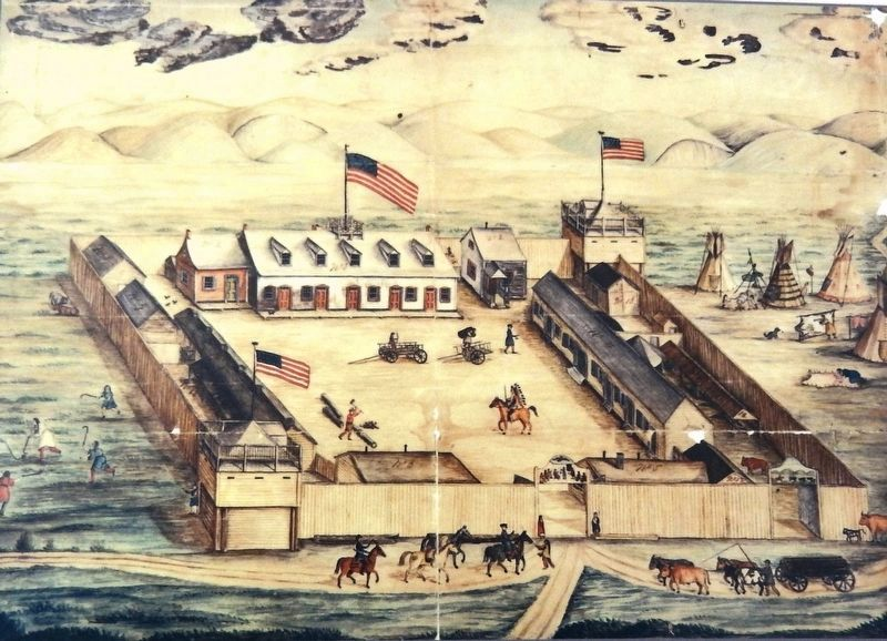 Marker detail: Fort Pierre Chouteau watercolor by Frederick Behman, 1854 image. Click for full size.