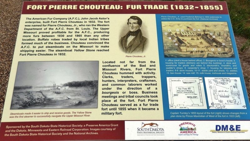Fort Pierre Chouteau: Fur Trade (1832-1855) Marker image. Click for full size.